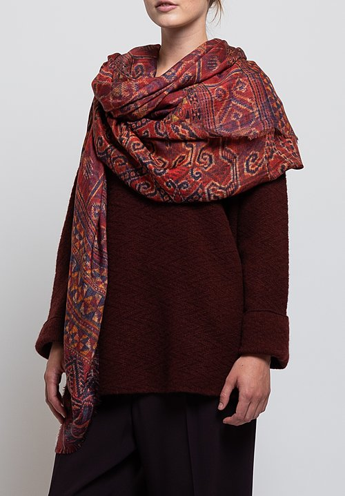 Alonpi Cashmere Printed Scarf in Moa Red