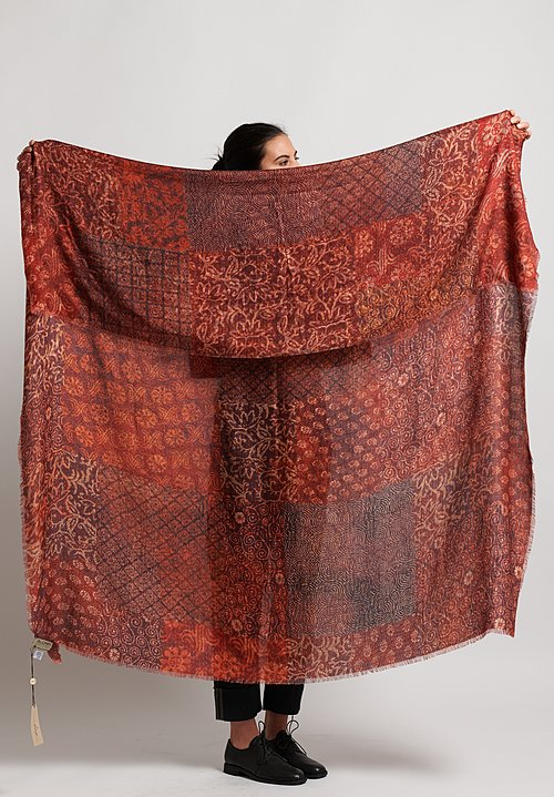 Alonpi Cashmere Printed Scarf in Hettie Red
