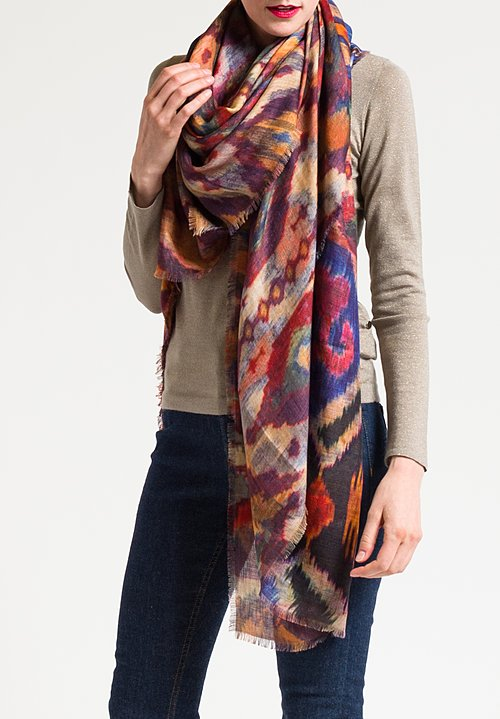 Alonpi Cashmere Printed Scarf in Falcon Multi