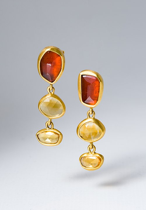 Greig Porter Triple Citrine & Orange Sapphire Drop Earrings