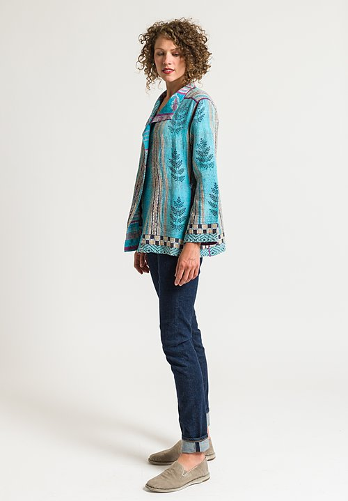 Mieko Mintz 2-Layer Vintage Short Jacket in Aqua/ Cream
