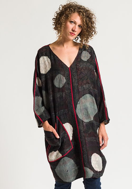Mieko Mintz 2-Layer Patch & Circle Print Dress in Black/ Red