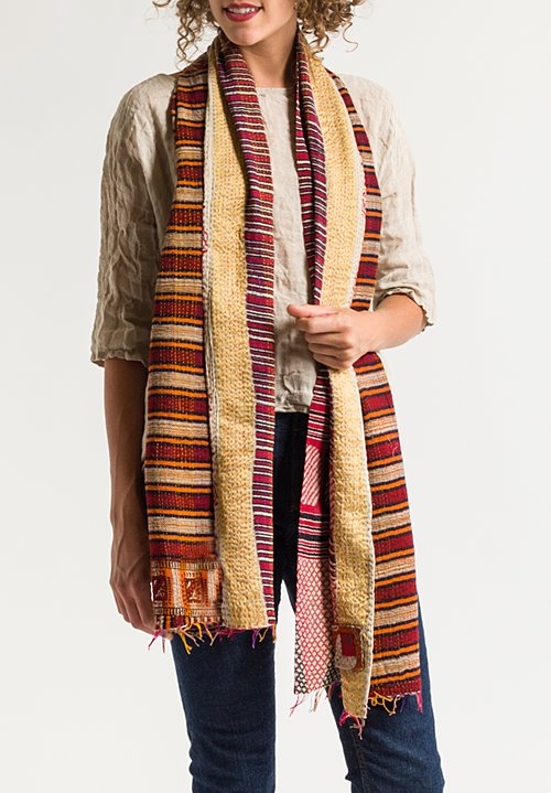 Mieko Mintz 2-Layer Scarf in Crimson/ Gold