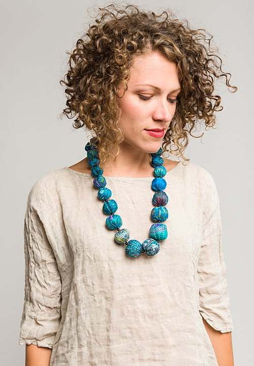 Mieko Mintz Vintage Silk Necklace in Turquoise