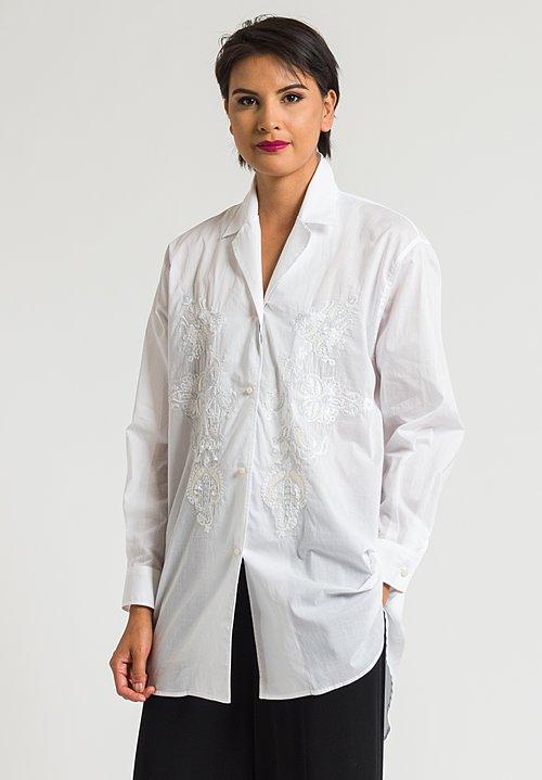 Etro Long Sequins & Embroidered Shirt in White