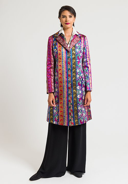 Etro Multi-Ribbon Jacquard Jacket in Pink/ Purple