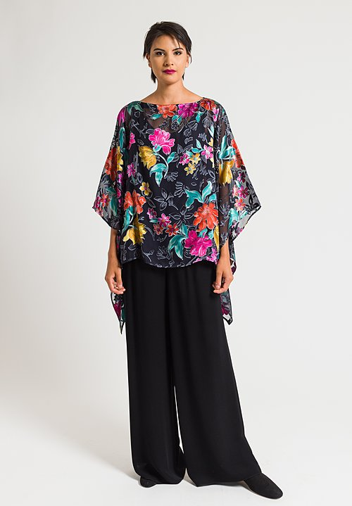 Etro Devore Satin Appliqué Poncho in Black