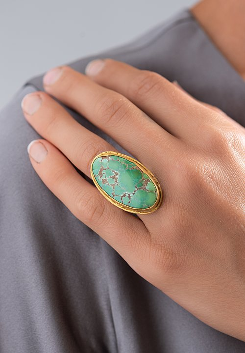 Greig Porter 22K, Grasshopper Turquoise Ring with Sterling Silver Band