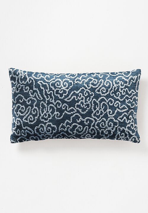 Tibet Home Hand Knotted & Woven Lumbar Pillow in Tinpa Blue