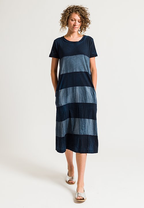 Gilda Midani Short Sleeve Maria Dress in Stripe Deep Blue & Tin