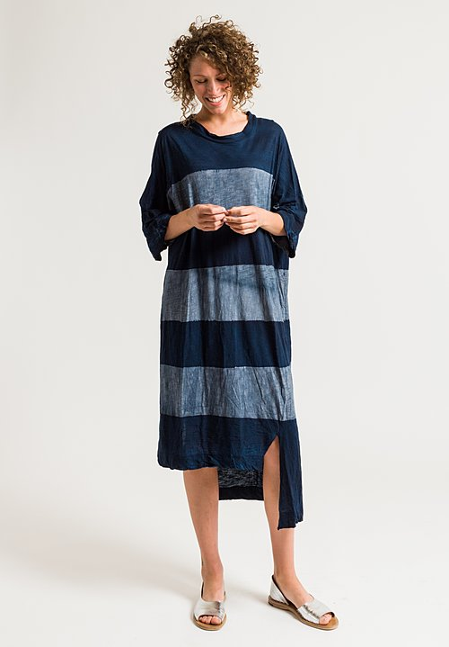 Gilda Midani Long Super Dress in Stripes Deep Blue & Tin