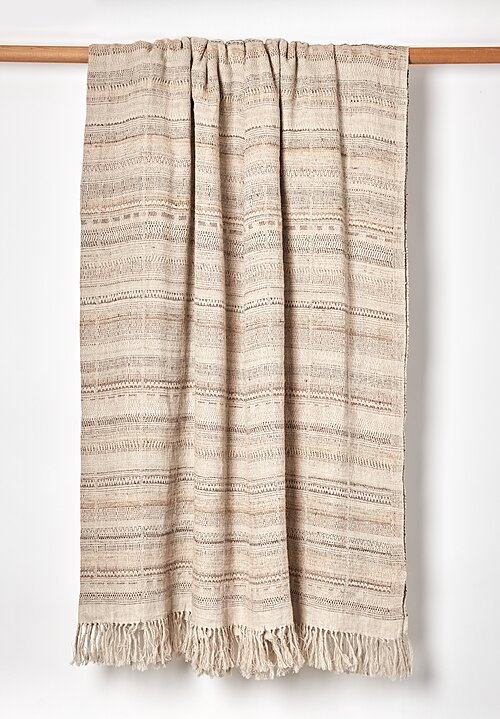 Linen/ Silk Handwoven Indian Bedcover in Natural