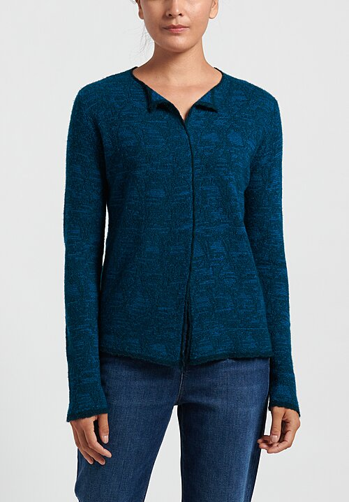Lainey Cashmere Lightweight Semi-Fitted Cardigan in Fairisle