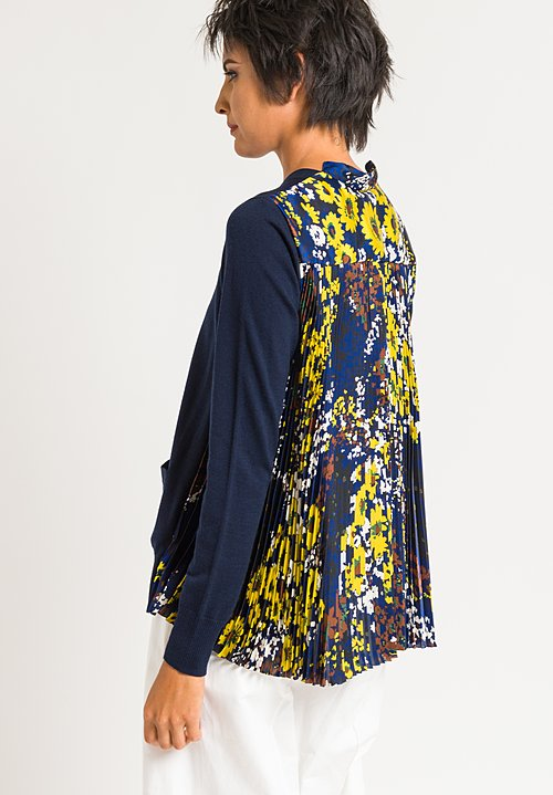 Sacai Pleated Cardigan in Navy