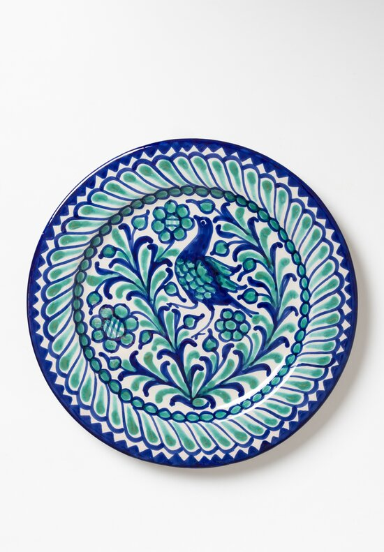 Casa Lopez Hand Painted Dinner Plate Green/ Blue
