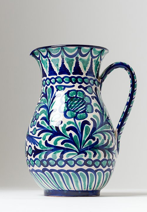 Casa Lopez Large Iberian Ceramic Pitcher in Blue Green