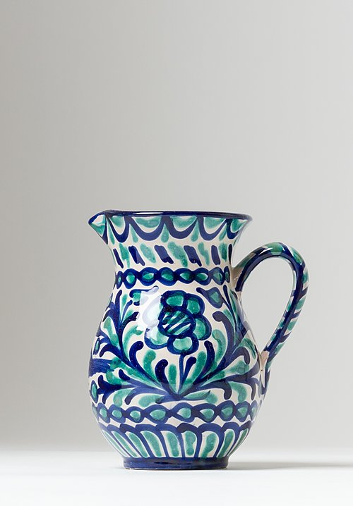 Casa Lopez Hand Painted Small Pitcher Green/ Blue