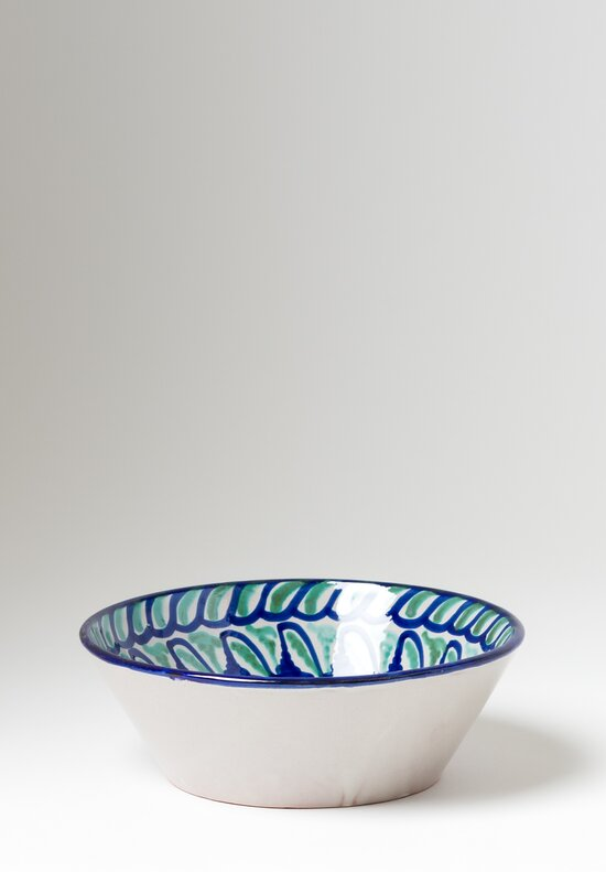 Casa Lopez Hand Painted Small Serving Bowl Green/ Blue