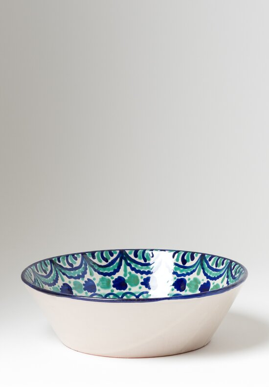 Casa Lopez Hand Painted Medium Serving Bowl Green/ Blue