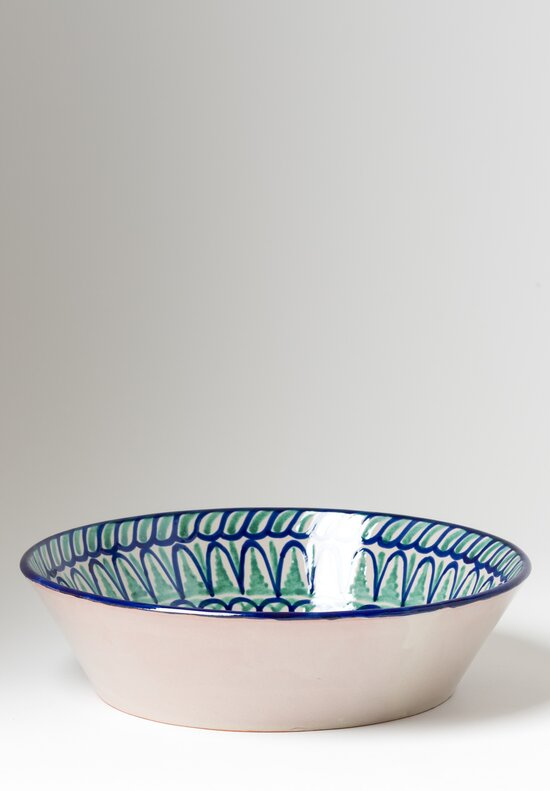Casa Lopez Hand Painted Large Serving Bowl Green/ Blue