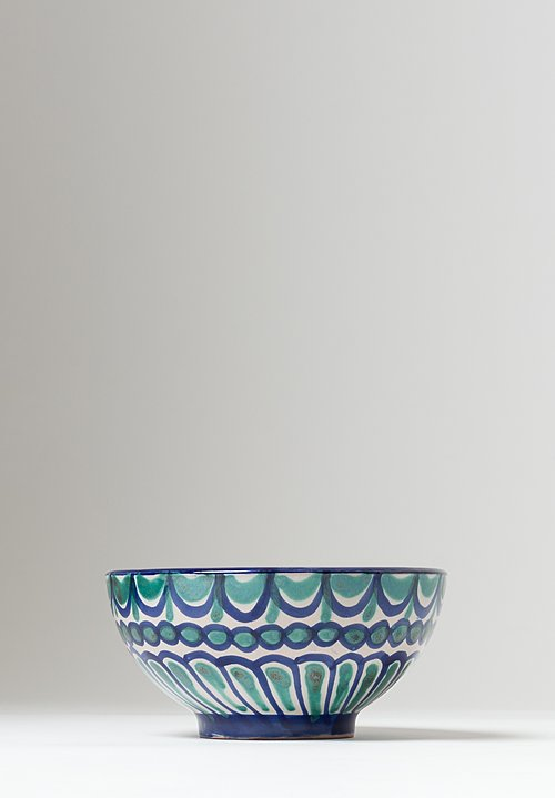 Casa Lopez Hand Painted Cereal Bowl Green/ Blue