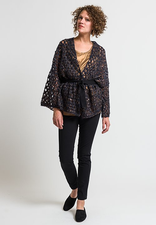 Brunello Cucinelli Dazzle Net Cardigan in Navy Blue