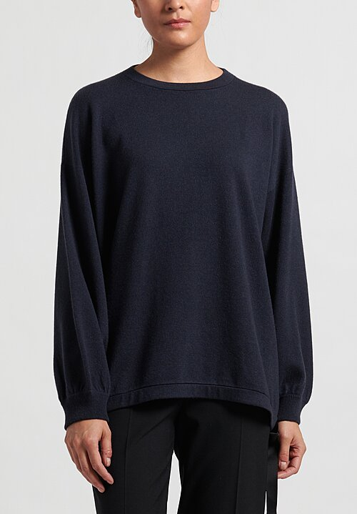 Brunello Cucinelli Gathered Drawstring Sweater in Navy Blue