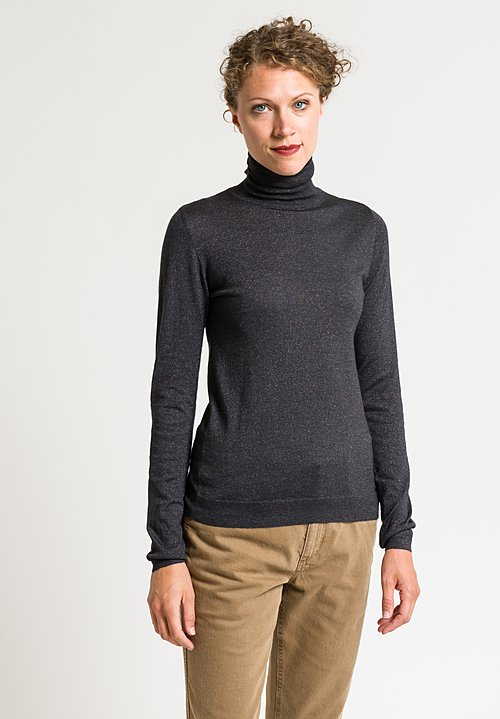 Brunello Cucinelli Turtleneck Paillette Sweater in Charcoal
