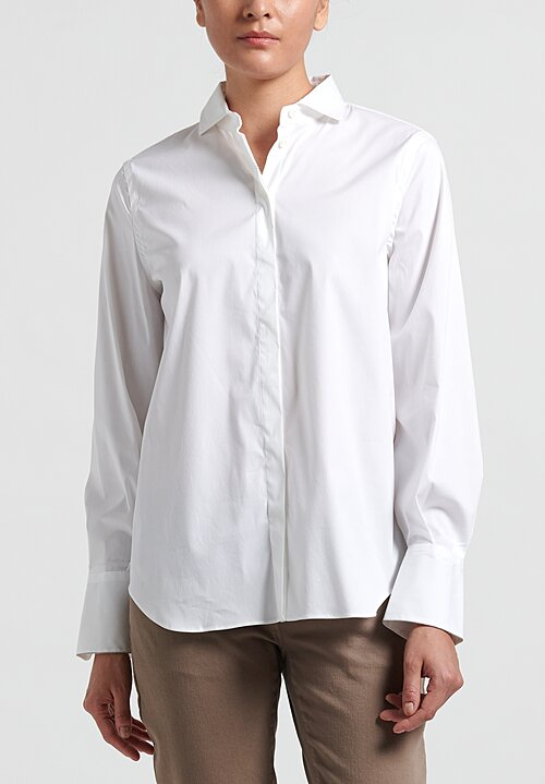 Brunello Cucinelli Poplin Monili Cuff Shirt in White
