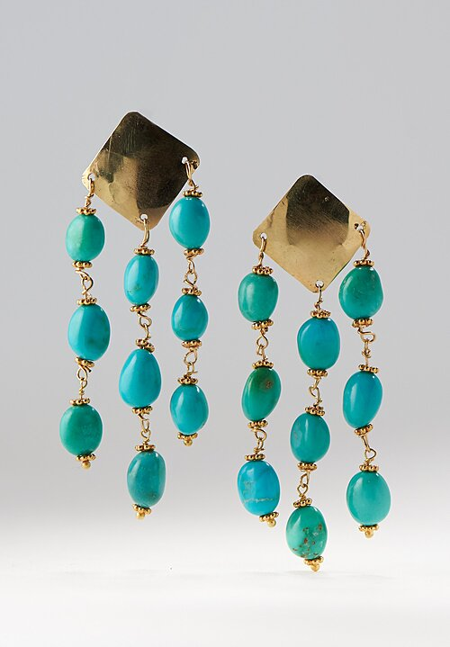 Greig Porter 18K, Kingman Turq. Dangle Earrings