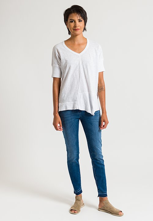 Closed Baker Cropped Distressed Hem Jeans in Strong Blue