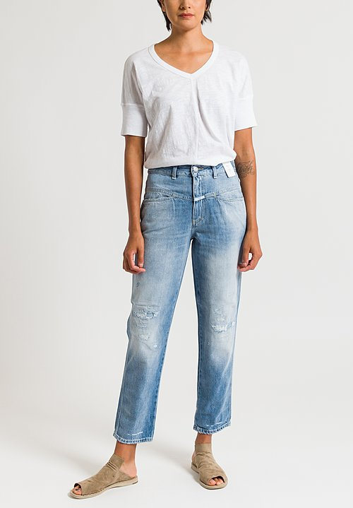 Closed Pedal Pusher Distressed Jeans in Light Blue