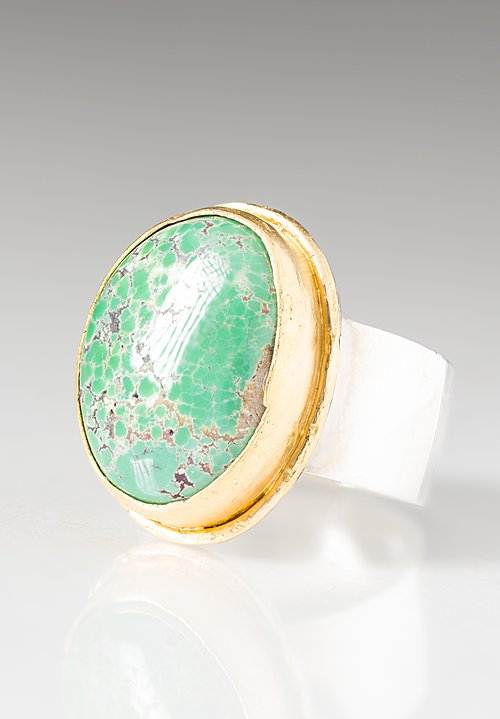 Greig Porter 22K, Small Grasshopper Turquoise Ring with Sterling Silver Band