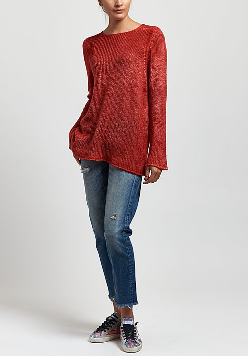 Avant Toi Loose Knit Sweater in Coral