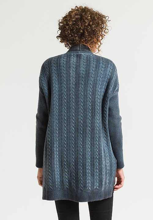 Avant Toi Cable Knit Cardigan in Glass