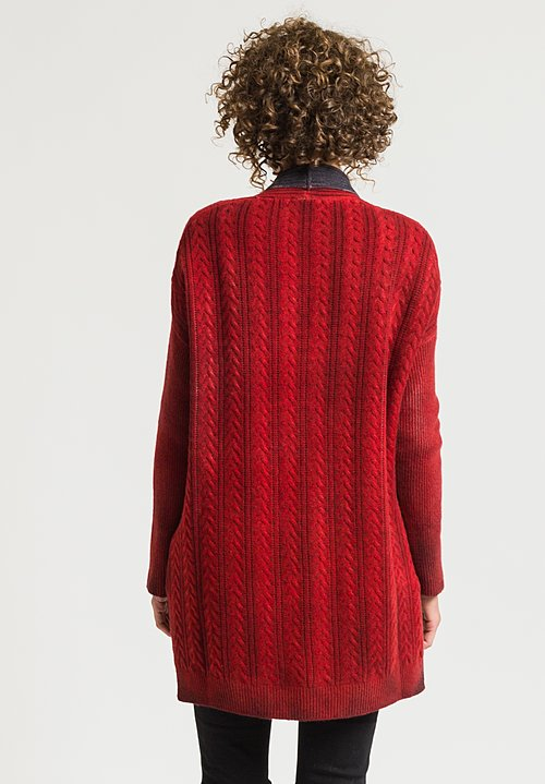 Avant Toi Cable Knit Cardigan in Coral
