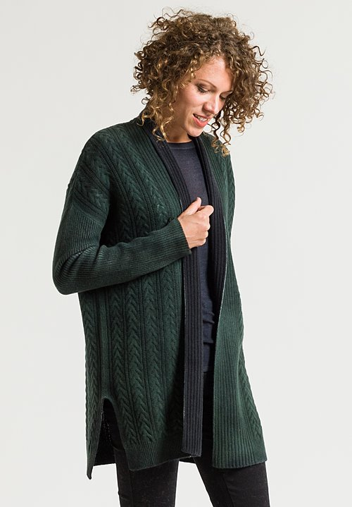 Avant Toi Cable Knit Cardigan in Forest