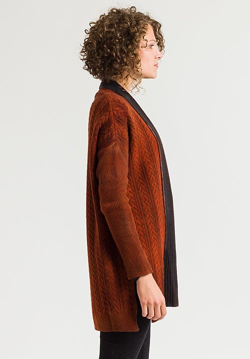 Avant Toi Cable Knit Cardigan in Equator