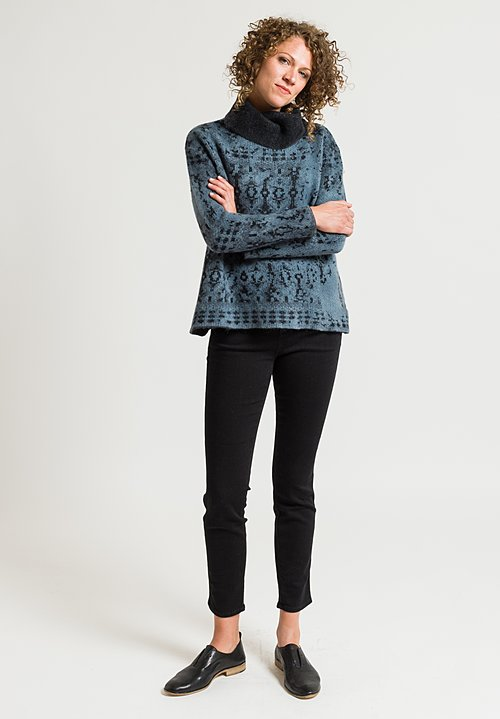 Avant Toi Jacquard Turtleneck Sweater in Glass