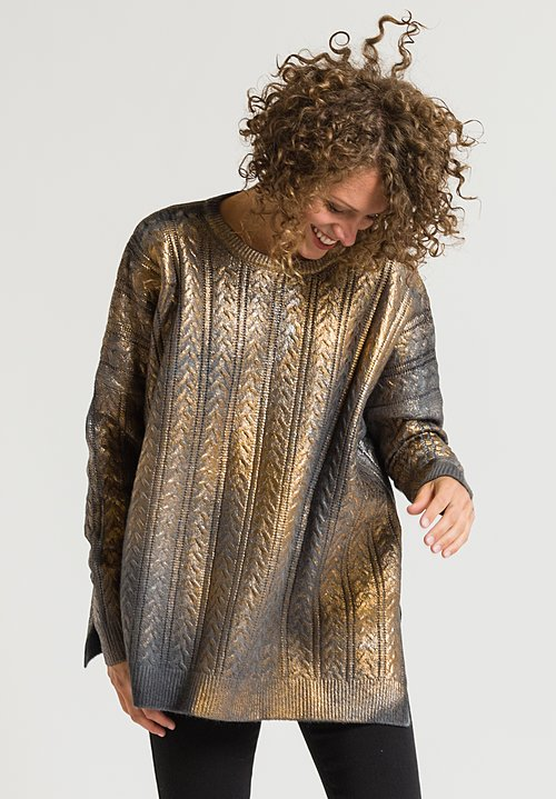 Avant Toi Metallic Cable Knit Sweater in Foil