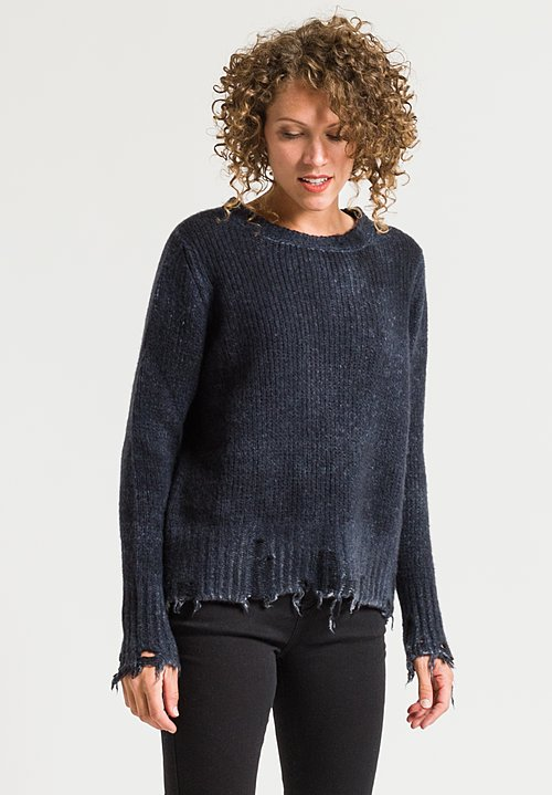 Avant Toi Distressed Sweater in Blue Navy