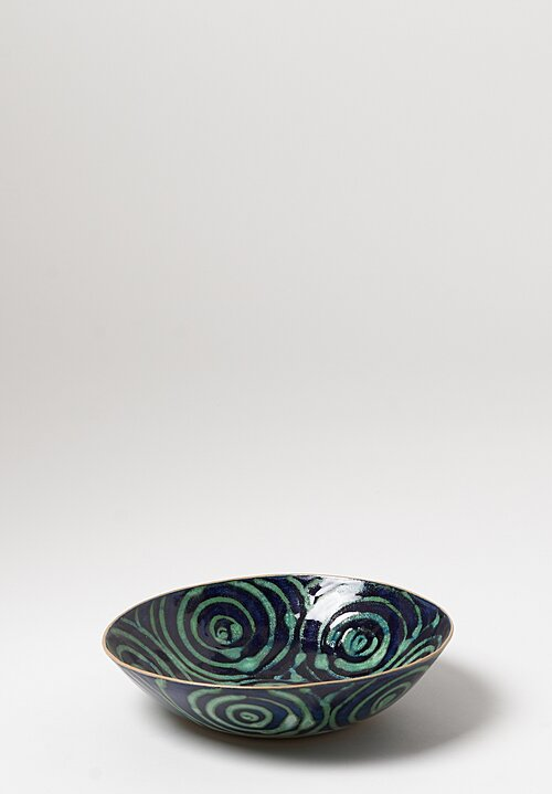 Laurie Goldstein Hand-Painted Ceramic Salad Bowl in Blue Green