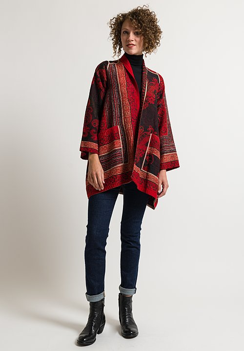 Mieko Mintz 4-Layer Dots & Paisley Jacket in Red/ Black