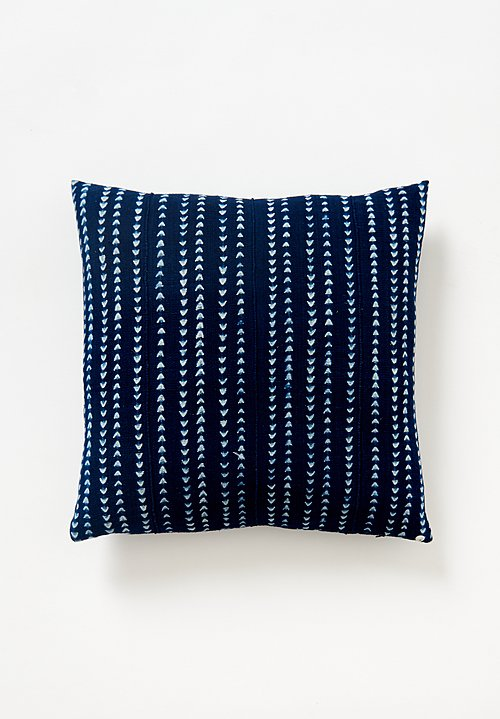 Aboubakar Fofana Stitch Resist Indigo Pillow with Stripes