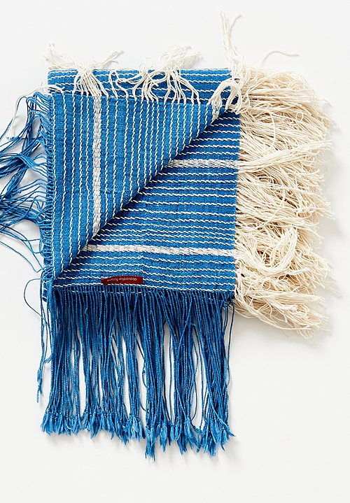 Aboubakar Fofana Hand Spun Cotton Shawl in Indigo and Cream