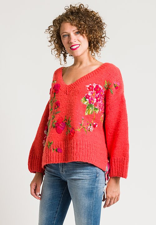 Péro Beaded & Embroidered Flower Sweater in Orange