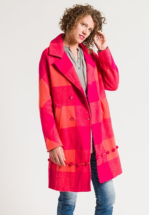 Péro Double Breasted Gingham Coat in Pink