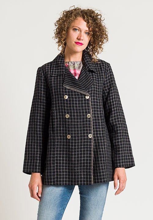 Péro Stripe & Checker Print Jacket in Grey