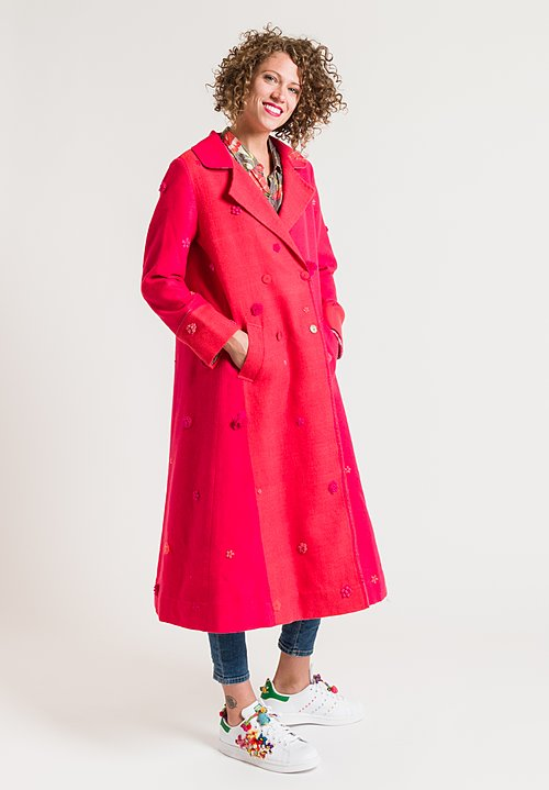 Péro Double Breasted Coat in Pink
