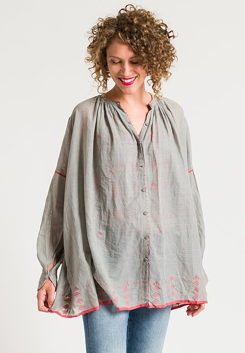 Péro Oversized Button-Down Shirt in Grey